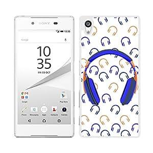 Funda carcasa para Sony Xperia Z5 estampado auriculares música azul marino naranja borde blanco
