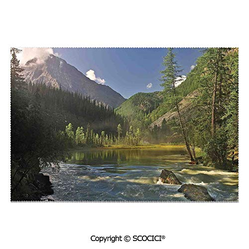 SCOCICI Set of 6 Printed Dinner Placemats Washable Fabric Placemats Mountain Lake West Siberia Altai Mountains Katun Ridge Alpine Forest Morning View for Dining Room Kitchen Table Decoration -