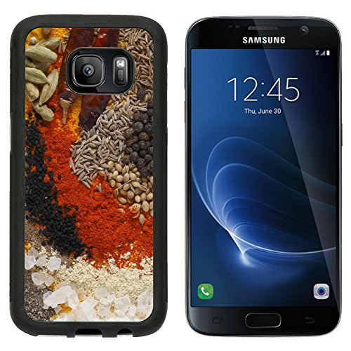 MSD Premium Samsung Galaxy S7 Aluminum Backplate Bumper Snap Case Asian curry spices in the centre black pepper coriander seeds mustard cumin around that dried chillies Kashmiri chilli powder caraway