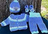 SaraStephCrafts Handmade Crochet Preemie 6-7 lbs Four piece outfit for a premie Baby boy for any season