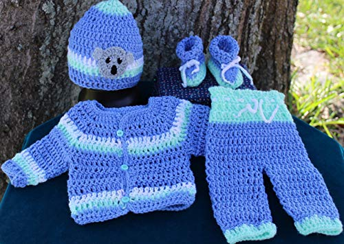 SaraStephCrafts Handmade Crochet Preemie 6-7 lbs Four piece outfit for a premie Baby boy for any season by SaraStephCrafts