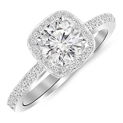 0.7 Carat t.w. 14K White Gold Round Classic Halo Style Cushion Shape Diamond Engagement Ring K I2 - 0.45 Ct Tw Round Diamonds