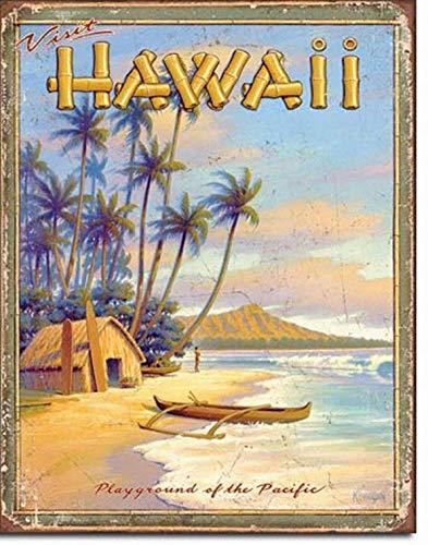 (Ufcell 8x12 Vintage Retro Metal Tin Sign Hawaii Playground TIN Sign Beach Home Decor Wall Art VTG Travel ad Poster)