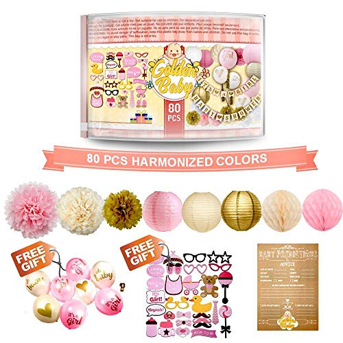 Baby Shower Decorations for Girl - 80PC Bundle Includes - Garland Bunting Banner Bonus+30PC Photo Booth Props Bonus+8PC Balloons Plus+E-Book Prediction Card and Decorations Set with in Ziplock Bag -