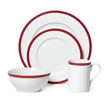 Guy Fieri 16-Piece Bistro Dinnerware Set Red Service for 4  sc 1 st  Amazon.com & Amazon.com | Guy Fieri 16-Piece Bistro Dinnerware Set Red Service ...