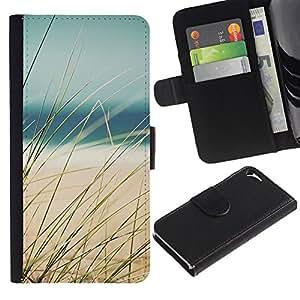 Apple iPhone 5 / iPhone 5S Modelo colorido cuero carpeta tirón caso cubierta piel Holster Funda protección - Sun Ocean Sea Beach Sand