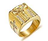 PJ Jewelry Mens Gold Plated Stainless Steel Crucifix Christian Jesus Cross Ring Symmetrical Inlay CZ Band,Size 10