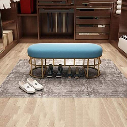 (YCSD Luxury Shoe Bench Bed End Stool Elliptical Wrought Iron Makeup Stool Footstool Sofa Stool Comfortable Fabric Cushion (Color : Peacock Blue, Size : 120cm))
