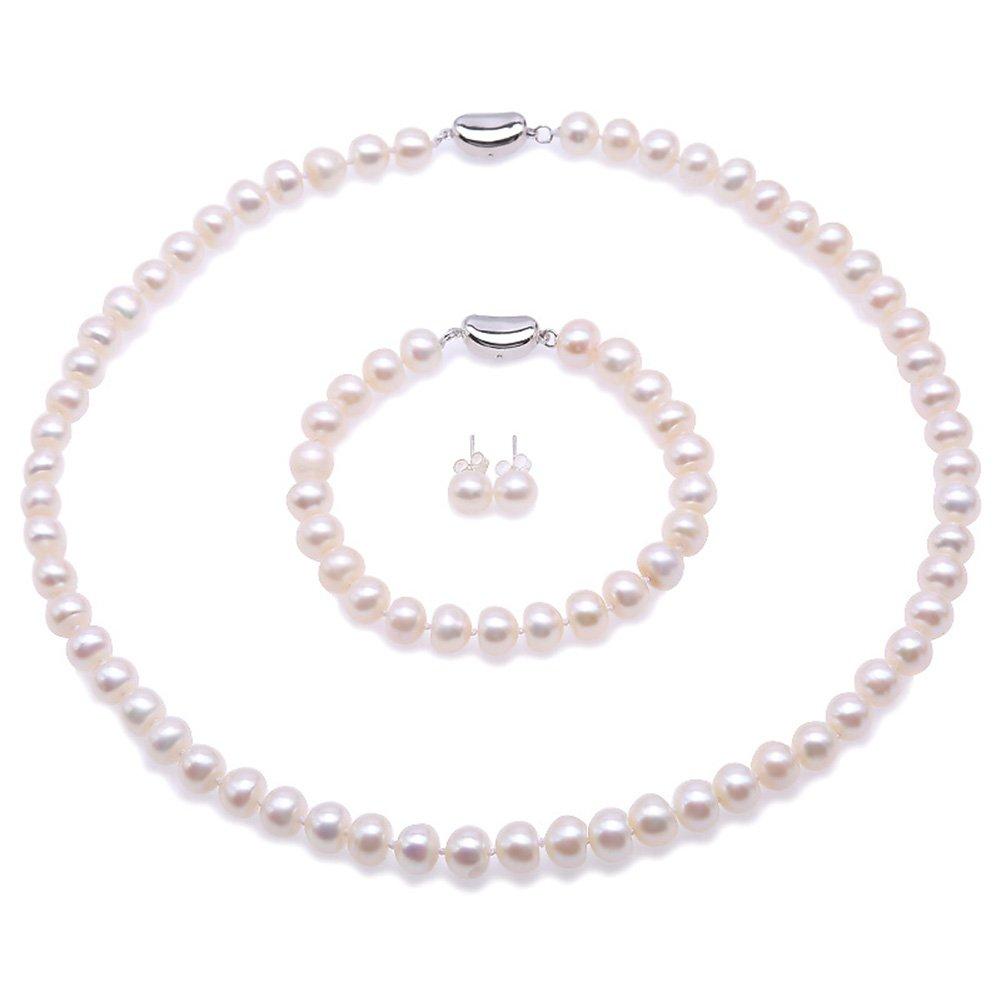 Collier de perles deau douce naturelles Pearl Bijoux Collier Ensembles JYX bleu paon et blanc Bracelet et boucles doreilles en argent sterling 925