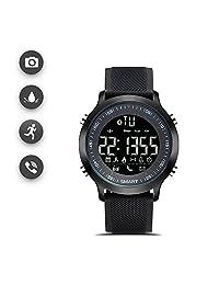 Costil Reloj deportivo inteligente, En espera durante 12 meses, profundidad a prueba de agua de 50 metros, medidor de distancia, recordatorio de mensaje, reloj que registra varios datos deportivos (Negro)