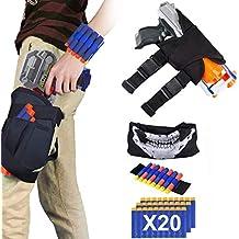 EXSPORT Kids Tactical Waist Bag Nerf Holster Kit, Blaster Holster and Dart Wrister Kit with Bullets for Nerf Gun