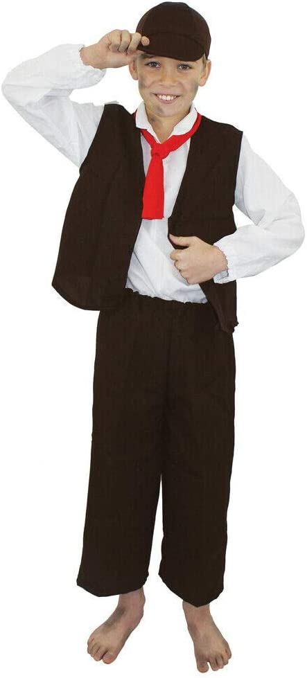 Child Urchin Boys Costume Oliver Twist Peasant Book Week Day Fancy Dress Outfit