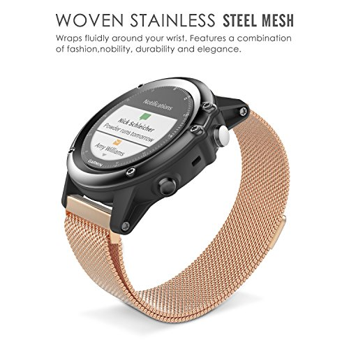 MoKo Milanese Loop Stainless Steel Replacement Bracelet Strap for Fenix 3 Smart Watch with Unique Magnet Lock Parent.