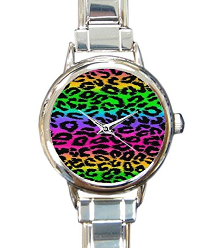 Coolstuffs Leopard Rainbow Women Ladies Italian Charm Bracelet Wrist Watch Analog Quartz Classic Watch
