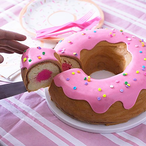 Cakegirls Giant Donut Cake Pan Kit - Includes 10'' Donut Pan, Pink Fondant, Pastel Confetti Quin Sprinkles, Instructions by Cakegirls