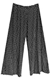 Black with White Polka Dots Wide Leg Palazzo Pants/Trousers. Size 12/14