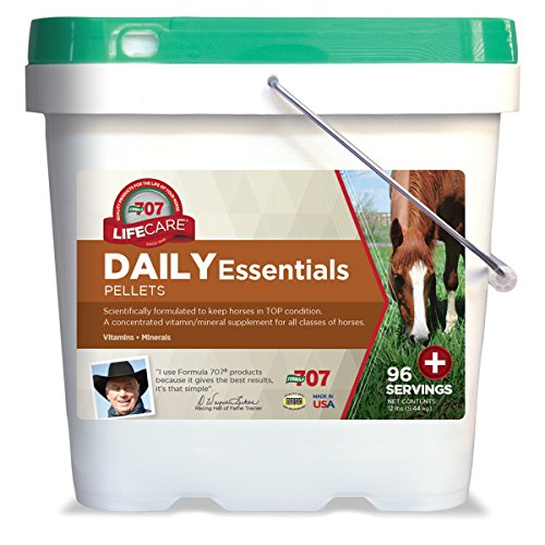 Digestive Supplement Succeed (Formula 707 Daily Essentials Equine Supplement, 12lb Bucket – Complete Vitamins and Minerals for Superior Health and Condition in Horses)