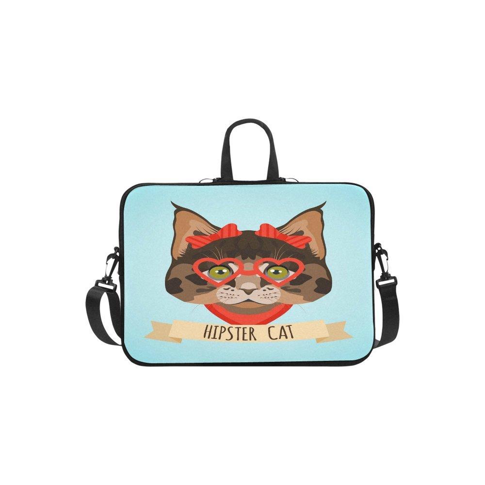 KOLATREE - Funda para Portátil Hipster Cat, Mensajero, Portátil, Portátil, Mensajero, Cat, con asa y Bolsa de Ordenador para Apple MacBook Pro Air HP DELL. 17