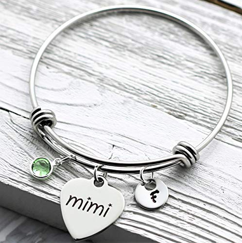 Mimi Bracelet - Personalized Birthstone & Initial - Best Mimi Ever Gift - Engraved, Hand Stamped, Customized