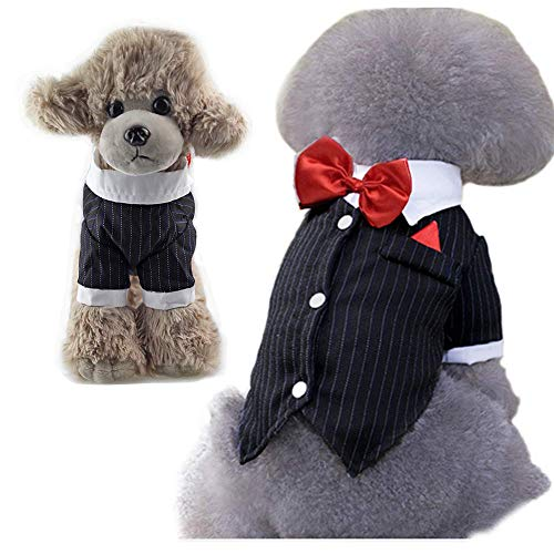 ANIAC Business Suit Formal Tuxedo with Red Bow-Knot Wedding Party Shirt Stylish Tail Costume for Cats and Dogs (Small)