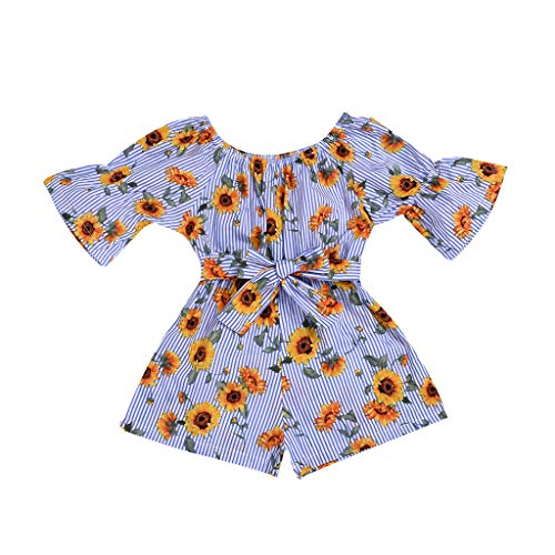 Toddler Kids Baby Girl Summer Bodysuit Clothes Off Shoulder Outfit Sunflower Printed Romper Jumpsuits (4-5 Years, Blue)