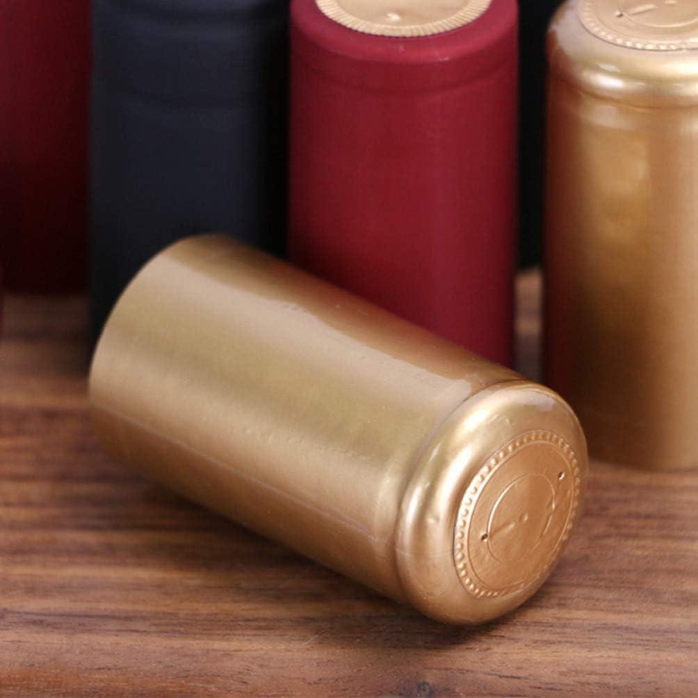 UPKOCH 100 St/ücke Schrumpfkapseln PVC Weinflasche W/ärmeschrumpfkapseln Schrumpfschlauch Weinflasche Kapseln Stopper f/ür alle Weinflaschen 30mm Durchmesser Golden