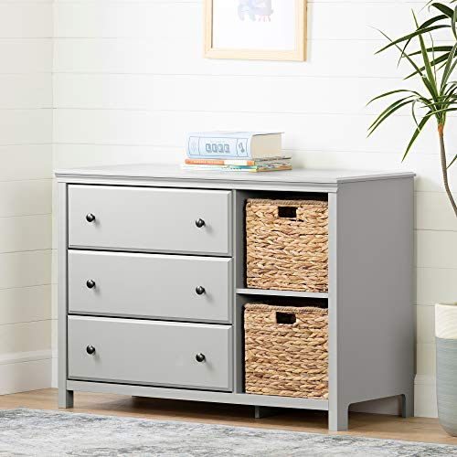 South Shore 12138 Cotton Candy 3-Drawer Dresser with Baskets, Soft Gray