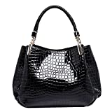 Monique Women Alligator Pattern Handbag Evening Party Clutch Bag Beach Travel Tote Shoulder Bag Black