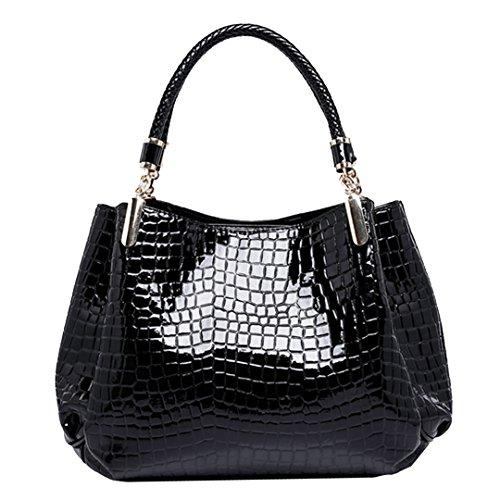 Monique Women Alligator Pattern Handbag Evening Party Clutch Bag Beach Travel Tote Shoulder Bag Black by Monique