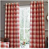 Homescapes Terracotta Eyelet Curtain Pair 167cm 66 Quot Wide