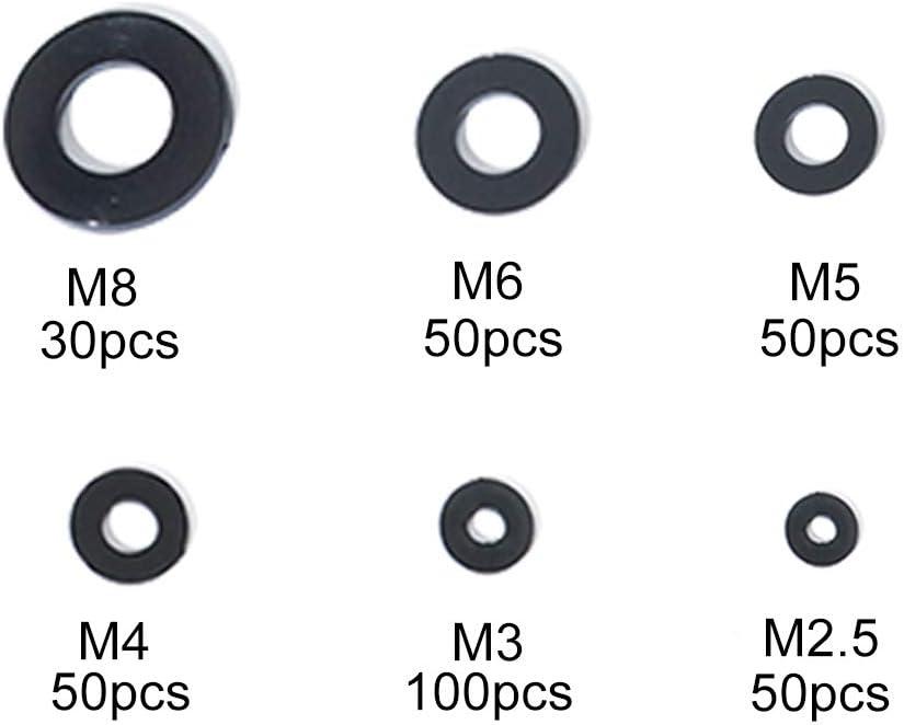 KOOTANS 330pcs Black Nylon Plastic Insulation Washers Assortment Kits Insulating Spacers Flat washers