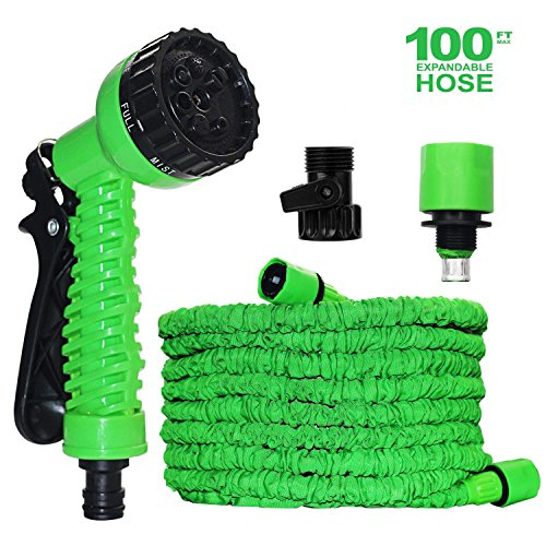 Expandable Garden Hose, 100ft Strongest Expanding Garden Hose No Leakage Durable 6 Function Spray Nozzle Extra Strength Fabric Protection for All Your Needs.