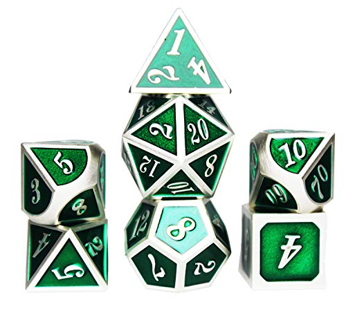 - Enamel Green Zinc Alloy Metal Dice Set 0-9 20 White Silver Number for Role Playing Game Starter with Case, Standard D4 D6 D10 D12 & D20 Sided 7 Die Weighted Rpg Sets 10 12 D Best Funny Gifts for Kids