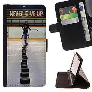 King Art - Premium-PU-Leder-Prima caja de la PU billetera de cuero con ranuras para tarjetas, efectivo Compartimiento desmontable y correa para la mu?eca FOR Samsung GALAXY G850 SM-G850F G850Y G850M- Hockey is Life