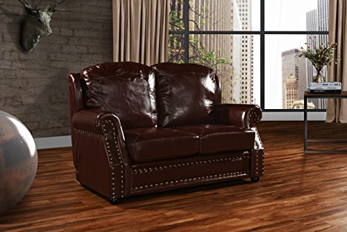 (DIVANO ROMA FURNITURE Leather Match Sofa 2 Seater, Living Room Couch Loveseat with Nailhead Trim (Dark Brown))