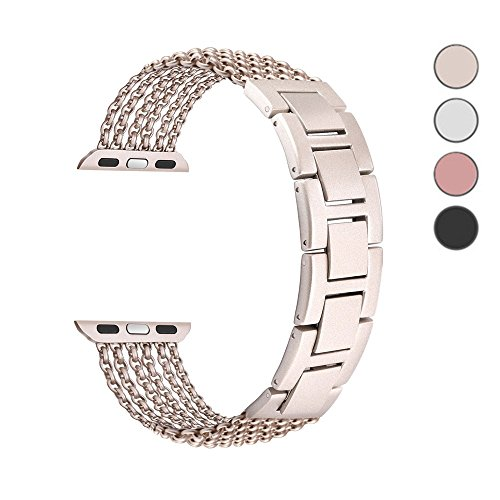 Price comparison product image Chenia Mesh Loop Milanese Stainless Steel Watch Band Link Bracelet Adjustable Flexible Replacement Metal Watch Band 38mm for Apple Watch iWatch Sport Edition Series 3, Series 2, Series 1 (Gold-38mm)
