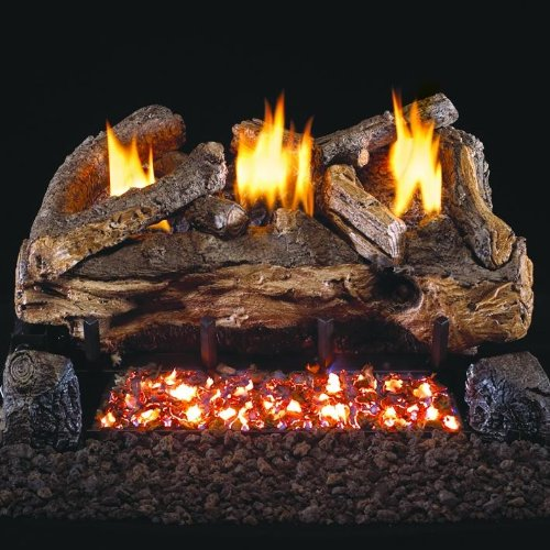 Peterson Real Fyre 30-inch Evening Fyre Split Log Set With Vent-free Propane Ansi Certified G18 Burner - Electronic Non-standing Pilot And Variable Flame Remote ()