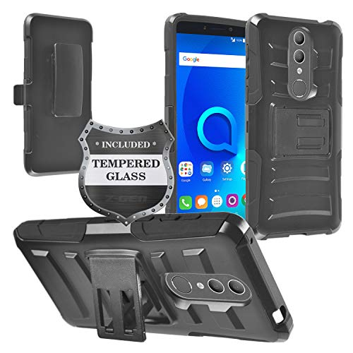 (Z-GEN - Alcatel Onyx 5008R - Hybrid Armor Phone Case w/Stand/Belt Clip Holster + Tempered Glass Screen Protector - CV1 Black)