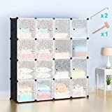 #10: Honey Home Wardrobes Closet,Portable Closet for Bedroom,Plastic Closet DIY Modular Shelving Storage Organizer Cabinet with Easy closed Doors- 16 Cubes