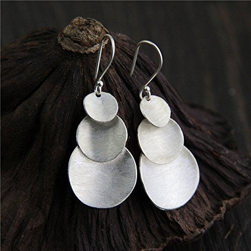 Handmade Vintage Handmade Sterling Silver Round Disc Dangle Earrings With Box Packing, Karen Hill Tribe Silver Earrings,Boho (20mm Hill Tribe)
