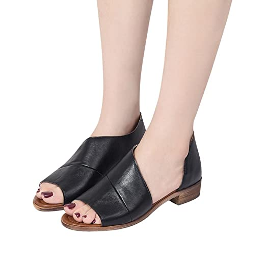 b3608d200953a Women Flats Sandals Boots,Hemlock Low Heel Open Toe Sandals Shoes Slides  Slip-On Outdoors Retro Booties