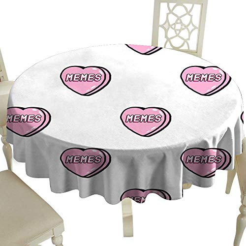 Decorative Textured Fabric Tablecloth Seamless pattern with patches stickers badges pins with heart with word Memes on it Quirky funny cartoon comic style of -s Great for Buffet Table D43
