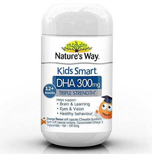 Nature's Way Kids Smart Triple Strength DHA 300mg 50 Soft Capsules imported from Australia ()