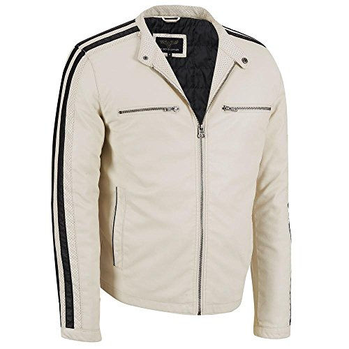 Wilsons Leather Mens Stripe Sleeve Faux-Leather Jacket L White