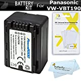 Replacement VW-VBT190 Battery Kit For Panasonic HC-V770K, HC-WXF991K, HC-W580K, HC-VX981K, HC-V180K, HC-V380K, HC-VX870K, HC-W570K Camcorder Includes Replacement VW-VBT190 Battery + Screen protectors