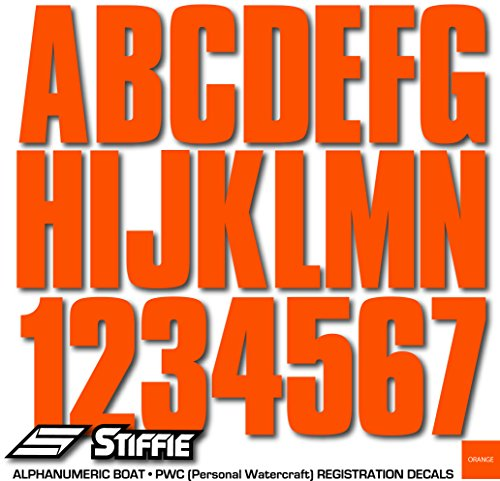 "STIFFIE Uniline Orange 3"" Alpha-Numeric Registration Identification Numbers Stickers Decals for Boats & Personal Watercraft"