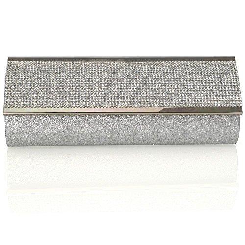 Bag Silver Glitter Glam Bridal Essex Sparkly Diamante Clutch Synthetic Womens xF8c60wqU