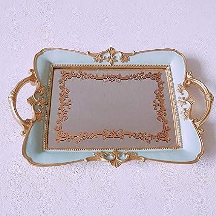 Amazon.com: Bandeja rectangular con espejo, de resina y ...