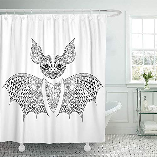Emvency Shower Curtain Set Waterproof Adjustable Polyester Fabric Zentangle Bat Totem for Adult Anti Stress Coloring Page for Therapy Tribal 72 x 78 Inches Set with Hooks for Bathroom]()