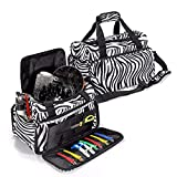 Hairdressing Bag, LuckyFine Professional Salon Hair Tools Hairdressing Bag, Large Capacity Hair Stylist Cosmetic Organizer with Accessory Pockets, For both hand or shoulder carry - Travel Luggage